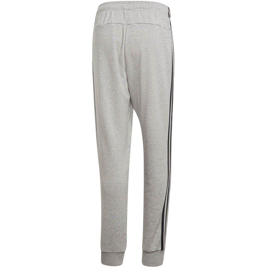 Spodnie męskie adidas Essentials 3 Stripes Tapered Pant FT Cuffed szare DQ3077